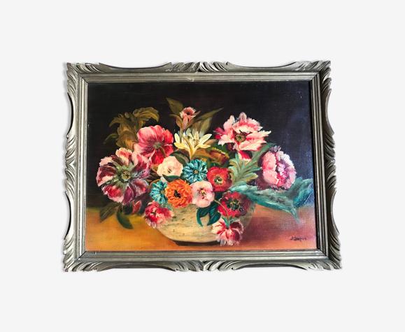 Tableau ancien bouquet de fleur