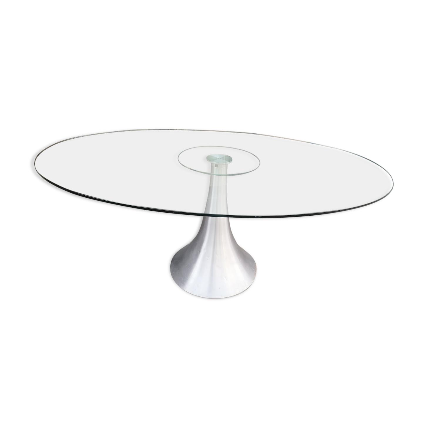 Table design en verre Kare 1970/80