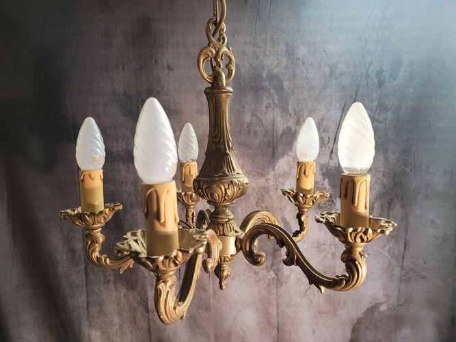 Lustre en bronze bronze doré cinq feu