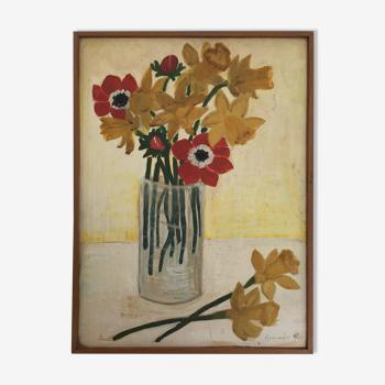 Tableau ancien bouquet de jonquilles