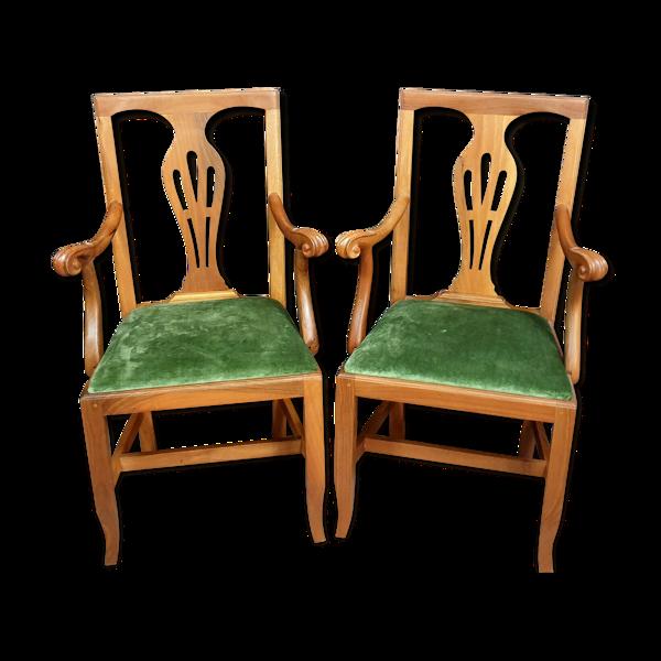 Paire de fauteuils de bureau Napoléon III en merisier