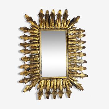 Miroir soleil feuillage métal patiné doré vintage 50/60s 81x61 cm. SB