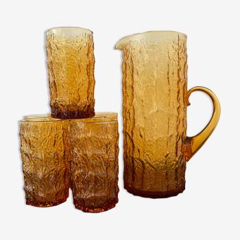 Service à orangeade en verre ambré 8 verres et leur pichet