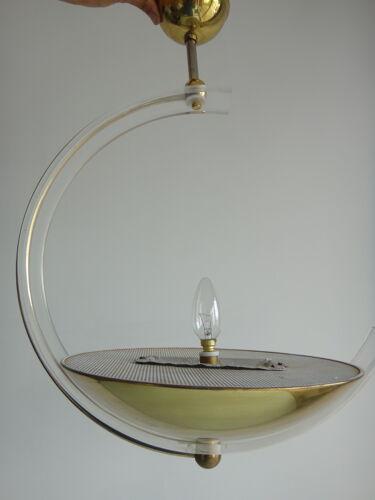 Lustre en plexiglass Italie métal doré