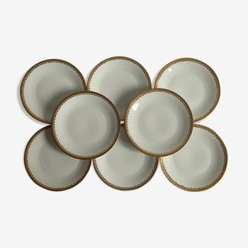 8 assiettes porcelaine doré