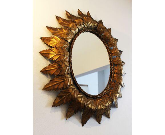 Miroir soleil ovale, 61x52cm
