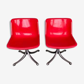 Paire de chaises D'Osvaldo Borsani éditées par Tecno
