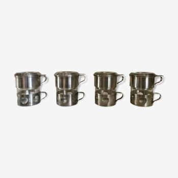 Café filtre vintage en métal argenté années 40