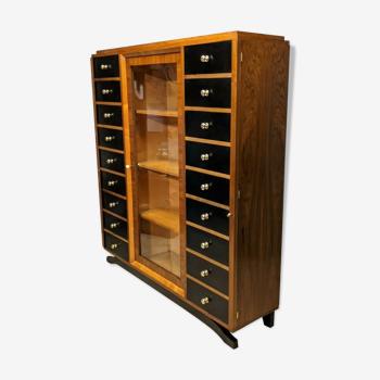 Meuble classeur vitrine art déco noyer cartonnier bureau 18 tiroir bibliothèque