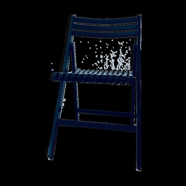 Chaise pliante noire en bois et laiton