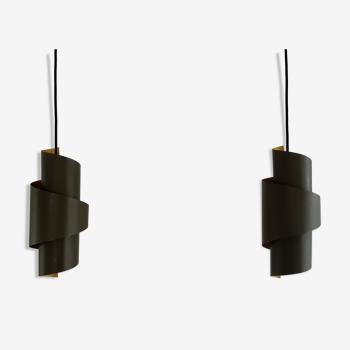 Lot de 2 suspensions danoises en métal en forme de tourbillon par Simon Henningsen pour Lyfa, années 1960