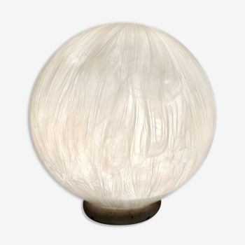 Lampe de table en verre soufflé blanc de Murano par La Murrina avec Murrines, Italie années 1980