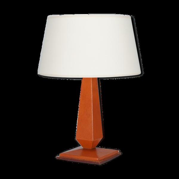 Lampe néo classique en cuir circa 1950
