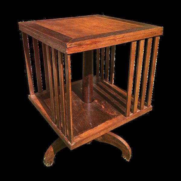 Bibliothèque pivotante en bois exotique