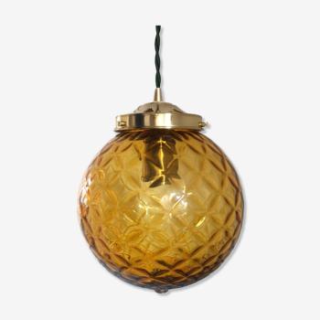 Suspension globe ambré