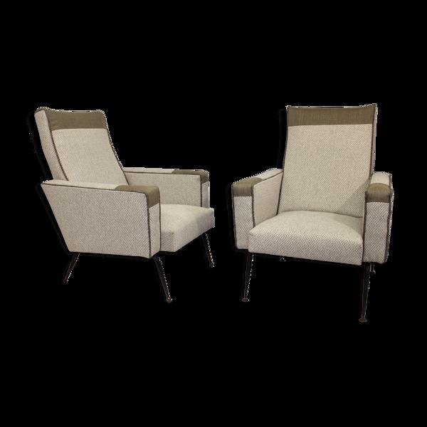 Selency Paire de fauteuils design année 1950