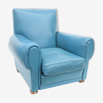 Club armchair in blue leather