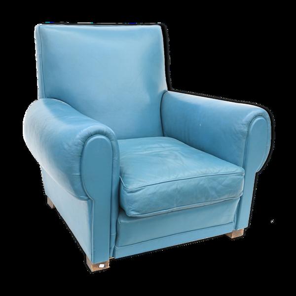 Fauteuil club en cuir bleu