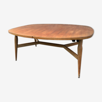 Table scandinave Smorrebrod 1960 en teck relevable 2 en 1