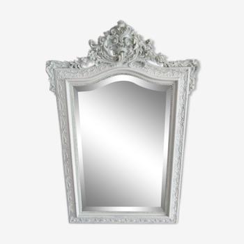 Miroir biseauté a fronton 19eme
