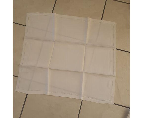 Nappe ancienne & 7 serviettes en damassé blanc, ourlet petits jours fait main