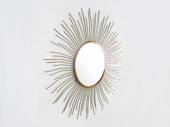 Miroir soleil forme libre vintage en métal doré, années 60