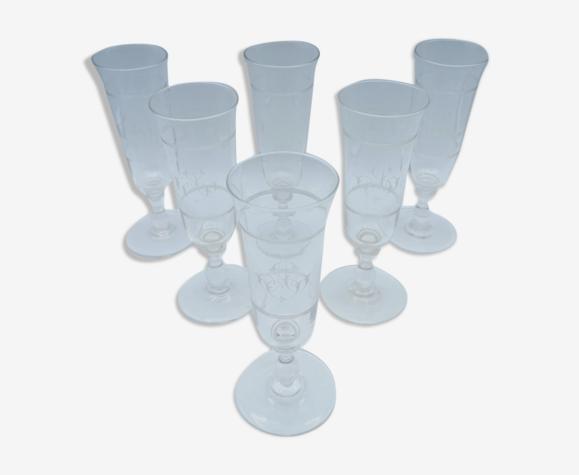 Ensemble de 6 flûtes à champagne monogrammés