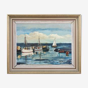 Peinture à l'huile impressionniste de paysage marin vintage du milieu du siècle - Clear Waters