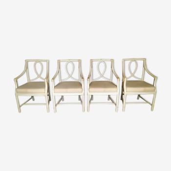 4 fauteuils bambou