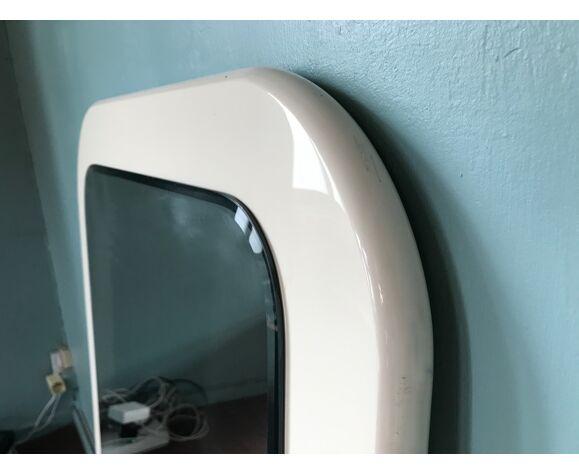 Miroir en résine laquée écrue années 70 110x70cm