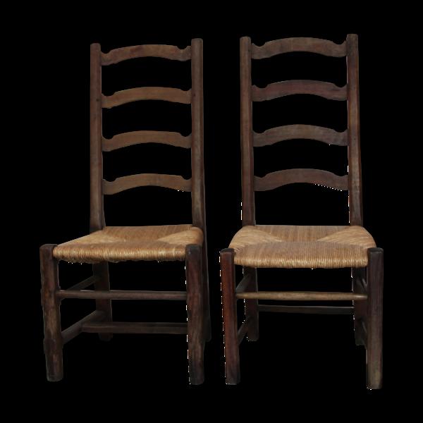Paire de chaises paillées anciennes
