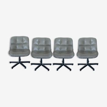 Suite de 4 fauteuils Charles Pollock pour Knoll international