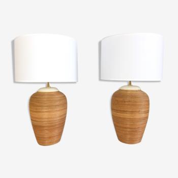 Paire de lampes de table vintage en rotin 1960