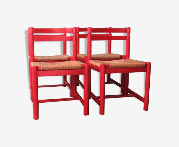 Suite de 4 chaises rouge 1970