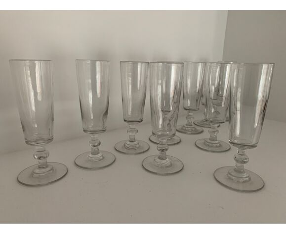 10 flûtes à champagne en verre
