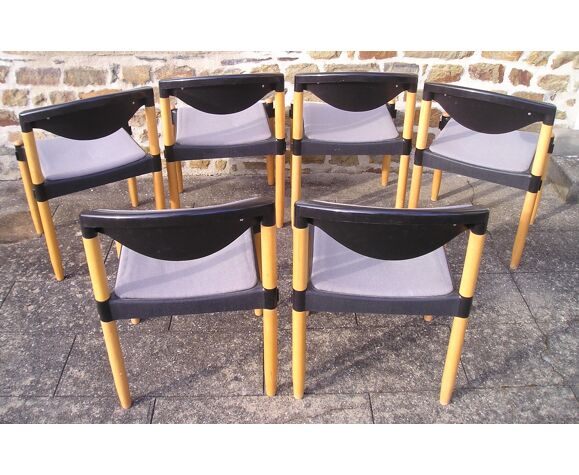 Set de 6 chaises Strax éditées par Casala en 1989 design Hartmut Lohmeyer