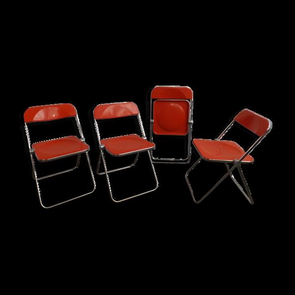 Selency Ensemble de 4 chaises Plia de Giancarlo Piretti par Castelli, Italie
