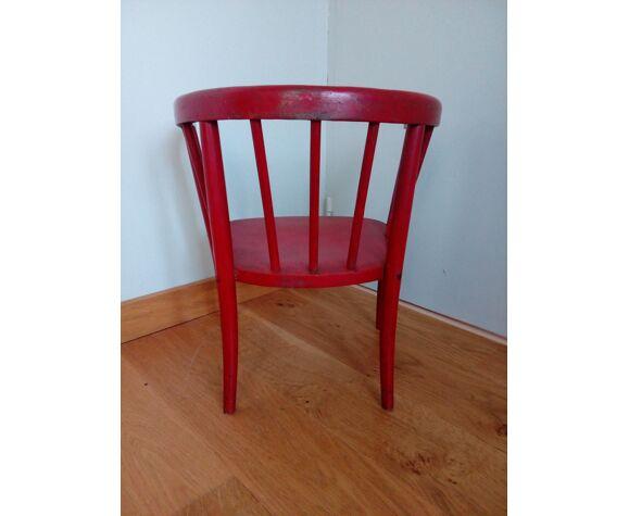 Fauteuil chaise enfant Japy Frères en bois courbé laqué rouge