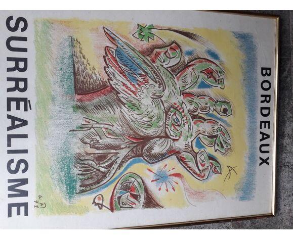 Affiche 1971 surrealisme expo Bordeaux