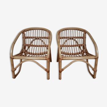 Duo de fauteuils coquille en rotin pour enfants