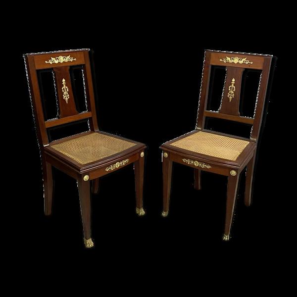 Selency Paire de chaises Empire en acajou ornementation de bronzes dorés