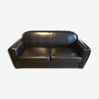 Sofa bed leather 3 places brown
