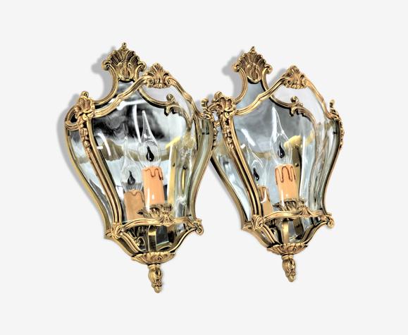 Paire d'appliques du Style Louis XV en bronze massif & Verre Bombé