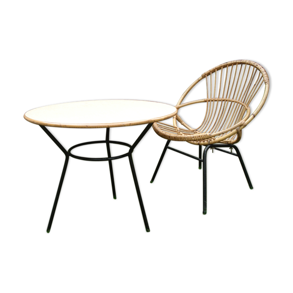 Duo table salon et fauteuil «coquille»