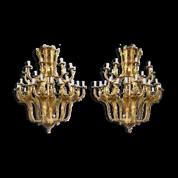Paire de lustres de style Louis XV bronze doré 36 feux