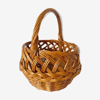 Braided wicker basket