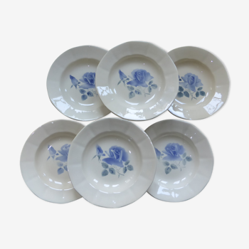 Set 6 assiettes creuses Digoin Sarreguemines à roses bleues Refs 200878