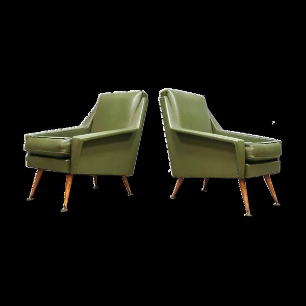 Ensemble de deux chaises longues design du milieu du siècle cinquante 'Green spirit'
