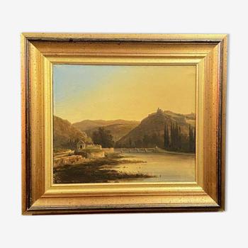 École suisse vers 1843  par nicolas prevost (1817-1864)  vue lacustre dans la vallée de joux