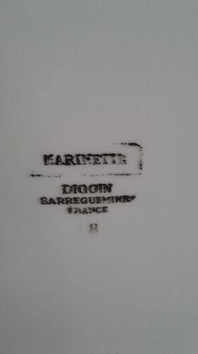 Plat de service en faïence, Digoin Sarreguemines France, modèle Marinette